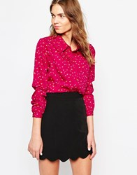 Yumi Shirt In Squiggle Ditsy Print Pink