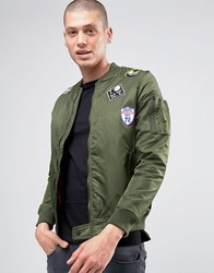 Brave Soul Nylon Twill Bomber Jacket Green