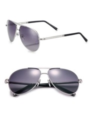 Montblanc 62Mm Aviator Sunglasses Silver Violet