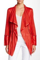 Insight Cracked Faux Leather Lasercut Jacket Red