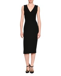 Dolce And Gabbana Classic Sleeveless V Neck Sheath Dress Black