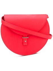 Pb 0110 Round Crossbody Bag Women Calf Leather One Size Red