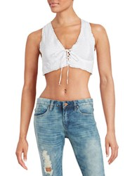 Free People As You Wish Embroidered Bra Top White