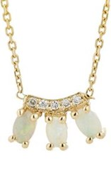 Jennie Kwon Women's White Diamond And Opal Trio Pendant Necklace Colorle Colorless