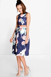 Boohoo Floral Box Pleat Midi Skirt Co Ord Set Navy