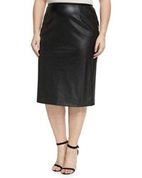 Tahari Asl Plus Faux Leather Crepe Pencil Skirt Black