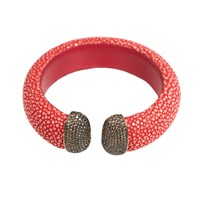 Latelita London Stingray Cuff Gold Chilli Red And Champagne Red Gold Brown