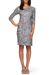 Women's Alex Evenings Rosette Lace Sheath Dress Silver