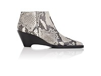 Acne Studios Women's Cammie Snakeskin Stamped Leather Ankle Boots White Black Nude