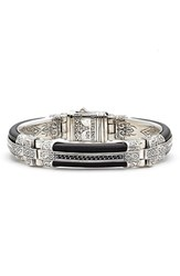 Konstantino Men's Plato Etched Sterling Silver And Leather Bracelet
