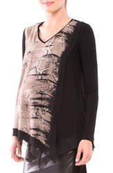 Olian Women's 'Jolie' Print Asymmetrical Top
