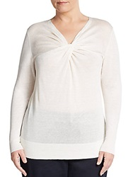 Lafayette 148 New York Sizes 14 24 Twist Neck Linen And Cotton Sweater Cloud