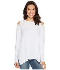 Heather Long Sleeve Slit Shoulder Slouchy Top White Women's Clothing