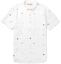 Mollusk Slim Fit Printed Linen And Cotton Blend Shirt White