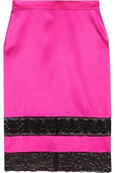 Givenchy Skirt In Black Lace Trimmed Bright Pink Silk Satin