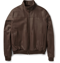 Loro Piana Beaver Lined Leather Bomber Jacket Brown