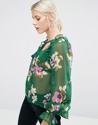 Asos Blouse In Green Floral With Ruffle Sleeve Detail Multi