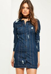 Missguided Blue Fitted Ripped Denim Shirt Dress