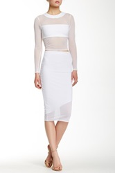 Donna Mizani Asymmetrical Midi Skirt White