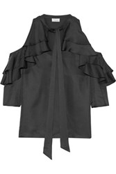 Temperley London Tempest Cutout Ruffled Silk Twill Blouse Black