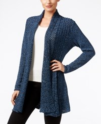 Ny Collection Marled Knit Open Front Cardigan Blue Marled