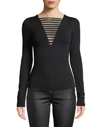 Bailey 44 The Low Down Strappy Long Sleeve Jersey Top Black