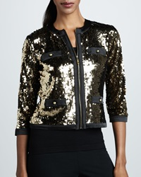 Michael Simon Sequined Zip Front Jacket Petite