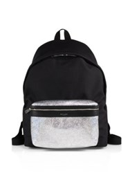 Saint Laurent Metallic Canvas And Leather Backpack Multicolor
