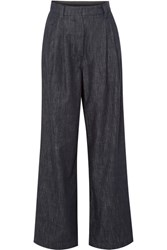 Brunello Cucinelli Embellished Striped High Rise Wide Leg Jeans Navy Gbp