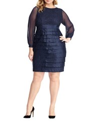 London Times Plus Long Sleeve Shutter Pleat Sheath Dress Navy