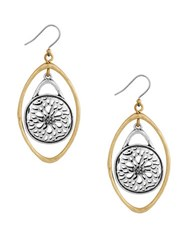 Lucky Brand Pave Holiday Luxe Two Tone Sugar Plum Orbit Earrings Mixed Metal