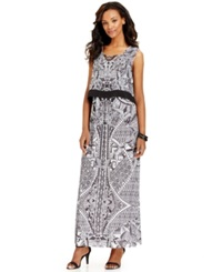Style And Co. Printed Crop Overlay Maxi Dress Jungle Mix