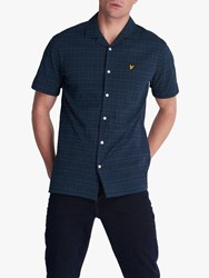 Lyle And Scott Seersucker Check Resort Short Sleeve Shirt Navy
