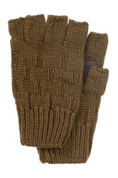 Rogue Knit Fingerless Glove With Suede Green
