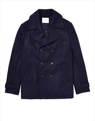 Selected Mercer Double Breasted Pea Coat Navy