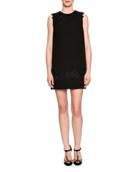 Dolce And Gabbana Lace Trim Crepe Shift Dress Black