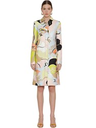 Emilio Pucci Printed Wool And Silk Canvas Coat Multicolor