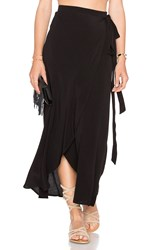 Wayf Wrap Midi Skirt Black