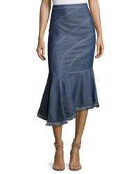 Andrew Gn Asymmetric Denim Midi Skirt Blue