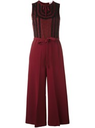 Red Valentino Lace Trim Jumpsuit Pink And Purple