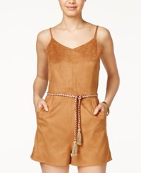 American Rag Faux Suede Belted Romper Only At Macy's Tan