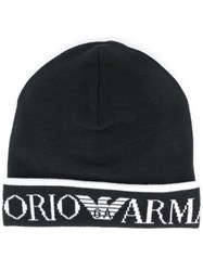 Emporio Armani Logo Embroidered Hat Black