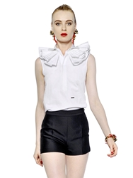 Dsquared Cotton Poplin Shirt With Ruffled Collar White