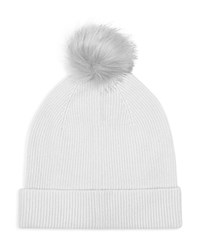 Reiss Luli Faux Fur Pom Pom Beanie Light Gray