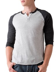 Alternative Apparel Three Quarter Sleeve Raglan Henley Oatmeal Black