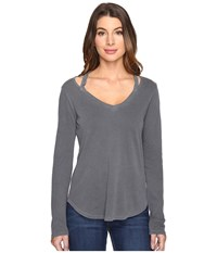 Splendid Long Sleeve V Neck Top Lead Women's Long Sleeve Pullover Gray