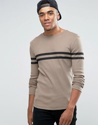 Asos Rib Extreme Muscle Long Sleeve T Shirt With Stripe Tan Brown