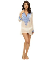 Athena Cabana Solids Tunic W Embroidery Cover Up White Blue Women's Swimwear