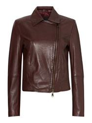 Max Mara Getti Leather Jacket Aubergine