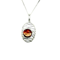 Goldmajor Amber And Sterling Silver Lattice Necklace Silver Amber